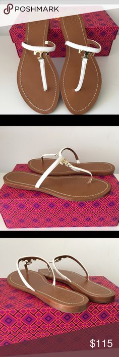TORY BURCH T GOLD LOGO FLAT WHITE SANDALS, SIZE 10 TORY BURCH T GOLD LOGO FLAT WHITE SANDALS, SIZE 10, RUBBER SOLE, BRAND NEW WITH BOX AND DUST BAG Tory Burch Shoes Sandals