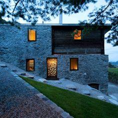 Modern Design: Germanier House by Savioz Fabrizzi Architectes Swiss Architecture, Architecture Renovation, Contemporary Architecture, Architecture Design, Architecture Interiors, Villa, Timber Structure, Building Structure, Stone Houses