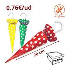 SOMBRILLAS CHOCOLATE TOPOS son chocolates de Navidad con forma de parasol envueltos con un papel rojo, verde o azul a topos. Miden 10.5cm de alto (7.5cm el chocolate) y 2.5 cm en la parte más ancha. Se venden en tarros de 32 unidades.
