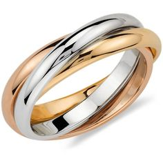 Trio Rolling Ring in Tri-Color Gold Reiser-Nichols Jewelers - Engagement Rings, Wedding Bands, Fine Jewelry & Swiss Watches Womens Wedding Bands, Wedding Rings For Women, Wedding Ring Bands, Or Rose, Rose Gold, Multi Coloured Rings, Colored Gold, Rolling Ring, Trinity Ring