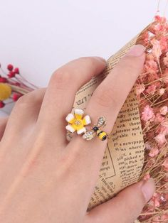 Shein Bee & Flower Cuff Ring 1pc