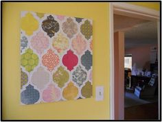 scrapbook paper/stencil/canvas = diy cool wall art. Try it with the same paper making the flowers out of.