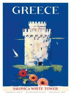 Greece - Salonica White Tower of Thessaloniki - Vintage World Travel Poster von Boswell 1 of 1 Greece Tourism, Greece Travel, World Travel Decor, Old Posters, Tourism Poster, Thessaloniki, Vintage Travel Posters, Vintage Art, Decoration