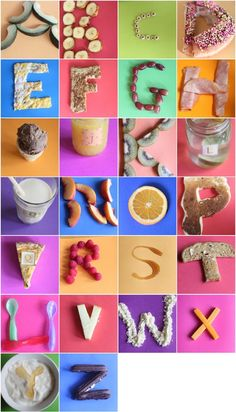 Damaris threw an ABC party for her son Enzo and she made the alphabet from food. So bright and fun! Food Alphabet, Alphabet Crafts, Learning The Alphabet, Alphabet And Numbers, Kids Learning, Alphabet Party, Teaching Abcs, Alphabet Activities, Activities For Kids