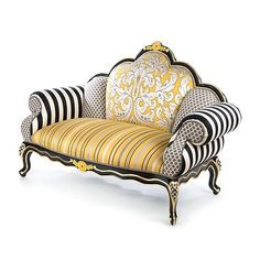 Classic furniture shapes with a MacKenzie-Childs twist, offering outstanding comfort and unparalleled style. Funky Furniture, Classic Furniture, Unique Furniture, Painted Furniture, Furniture Stores, Luxury Furniture, Furniture Design, Mackenzie Childs Furniture, Pouf Design