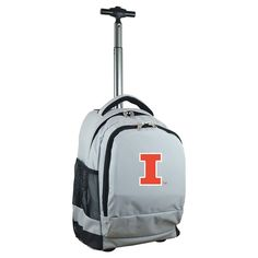NCAA Illinois Fighting Illini Grey Premium Wheeled Backpack