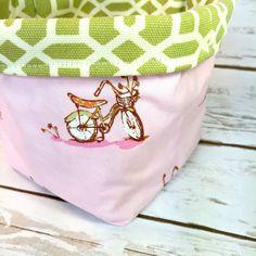Fabric Basket Fabric Bin Heather Ross Bikes by littlestitchstudio1