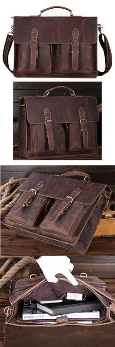 Image of Men's Vintage Genuine Leather Briefcase Messenger Bag Laptop Tote Bags A05