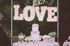 Camp Wedding, Wedding Cake Rustic, Wedding Cakes, Wedding Day, Wedding Gowns, Marquee Lights, Marquee Letters, Frozen Lemonade, Malibu California