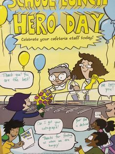 Adorn your cafeteria walls with this School Lunch Hero Day poster! The word balloons are blank so that your students can write messages of gratitude! Celebrate your cafeteria staff on the first Friday in May! Teacher Librarian, Teacher Shirts, School Lunchroom, Balloon Words, School Themes, School Ideas, 5th Grade Art, Lunch Room, Staff Appreciation