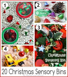 20 Christmas Sensory Bins. So many great ideas for sensory and pretend play fun this holiday season.