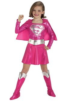 Christmas 2014 fun for our granddaughter...... For her to play pretend play dress up and put in her new pretend play dress-up box. Child Pink Supergirl Costume