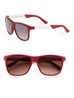 Gucci 58MM Square Sunglasses - Red - Size No Size