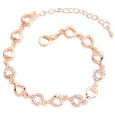 5pcs Hot Rose Gold Rhinestone Paved Hollow Heart Charm Chain Jewelry Bracelets J