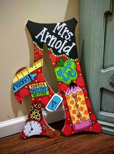 Large Teacher School Door Hanger Letters by OnTheBrightSideArt (crayon painting teacher gifts)