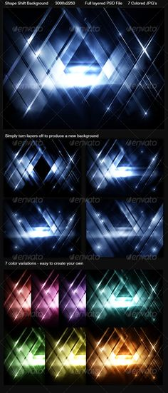 Buy Shape Shift Background by sevenstyles on GraphicRiver. Included is a full layered PSD file and 7 different colored JPG images. Background Images Wallpapers, New Backgrounds, Background Templates, Create Your Own, Shapes, Design, Color, Ideas Para, Fonts