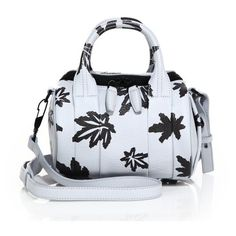 Alexander Wang Rockie Mini Leaf-Print Leather Duffel Bag ($650) ❤ liked on Polyvore featuring bags, pale blue, satchels, leather bags, mini bags, zip bag, mini satchel bag and top handle satchel handbags