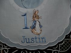 Heirloom Peter Rabbit Personalized First Birthday Blue and White Double Scalloped Cotton  Bib by Zadabug on Etsy https://www.etsy.com/au/listing/285443981/heirloom-peter-rabbit-personalized-first