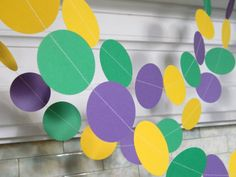 Paper Garland Mardi Gras Decorations 10ft by anyoccasionbanners, $12.00