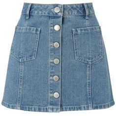 Miss Selfridge Petites blue denim mini skirt found on Polyvore featuring skirts, mini skirts, bottoms, saias, blue a line skirt, petite skirts, denim miniskirt, short skirts and a line mini skirt