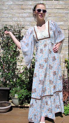 Vintage 70s Hippie Maxi dress// Cotton// Summer Maxi