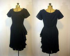 Vintage Little Black Dress/ Cocktail Dress/  Eyelet Ruffles Wiggle Pinup Ladies…