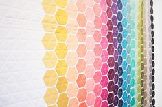 Vanessa Christenson of V and CO Ombre Quilts at Modern Domestic Quilt Gallery Hexagon Patchwork, Hexagon Quilt, Ombre Fabric, Colorful Quilts, Butterfly Kisses, Quilt Blocks, Quilt Patterns, Sewing, Quilting