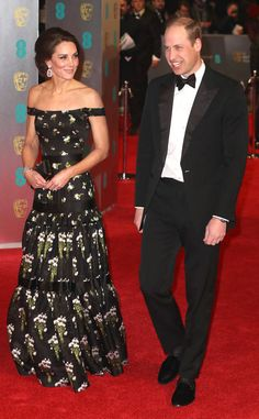 Royal couple looks as regal as ever 2017 BAFTA Awards - floral-printed Alexander McQueen gown
