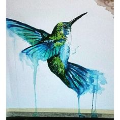 Watercolor hummingbird tattoo idea with ocean like colors - made by me (: