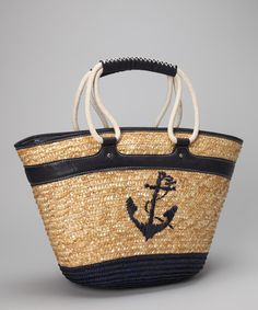 Navy anchor straw tote.