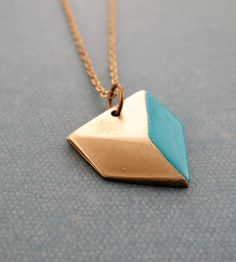 Brass and Turquoise Geometric Pendant Neckalce / by Found & Salvaged