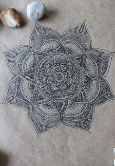 Original Hand Drawn Mandala: Ink on Recycled by yourhomemadezen by ceudodia Mandala Doodle, Henna Mandala, Mandala Art, Lotus Mandala, Doodle Inspiration, Tattoo Inspiration, Trendy Tattoos, New Tattoos, Body Art Tattoos