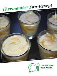 Mascarpone yoghurt cream sprinkled with fresh apricot compote - Thermomix Desserts, Gourmet Desserts, Cooking Tips, Mousse, Sprinkles, Marzipan, Brunch, Pudding, Snacks