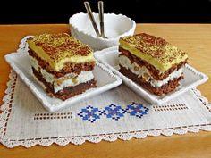 Prajitura frantuzeasca are o combinatie perfectă de gusturi si culori: maro cu alb si galben! Are un aspect placut si este spornica. Romanian Desserts, Something Sweet, Coco, Fondant, Caramel, Sweet Treats, Cheesecake, Food And Drink, Cooking Recipes