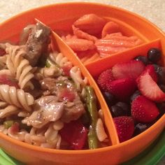 beef & asparagus pasta - blueberries & strawberries - carrots