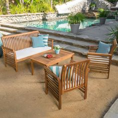 Shop for Christopher Knight Home Desmond Outdoor 4-piece Acacia Wood Chat Set with Cushions. Get free delivery at Overstock.com - Your Online Garden