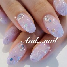 Almond Nails Designs, Nail Designs, Hair And Nails, My Nails, Posh Nails, Asian Nails, Korean Nail Art, Kawaii Nails, Mermaid Nails