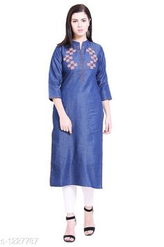 Kurtis & Kurtas Women's Embroidered Denim Kurti Fabric: Denim Sleeves: Sleeves Are Included Size:S - 36 in M - 38 in  L - 40 in XL - 42 in XXL - 44 in 3XL - 46 in 4XL-48 in 5XL-50 in Type: Stitched Length: Up To 42 in  Description: It Has 1 Piece Of  Kurti Work: Embroidered Country of Origin: India Sizes Available: S, M, L, XL, XXL, XXXL, 4XL, 5XL   Catalog Rating: ★4.3 (300)  Catalog Name: Women's Printed Denim Kurtis CatalogID_154775 C74-SC1001 Code: 955-1227787-6351