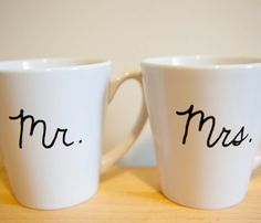 Mr & Mrs Coffee Mugs for wedding gifts