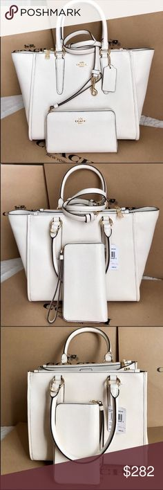 🌴Coach Set🌴 100% Authentic Coach Large Tote Hand Bag or Crossbody and Wallet, brand new with tag!😍😍😍 Coach Bags Crossbody Bags