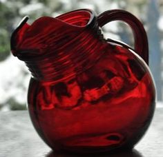 Red Depression Glass | Vintage Depression Glass Royal Ruby Red Glass Ball Juice Ice Lip ...