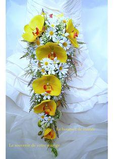 bouquet de marie en cascade et une boutonnire orchide jasmin margaret bohme boho fleur artificielle pour - Boutonnire Invit Mariage