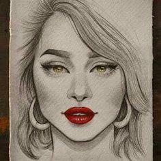 Portrait Drawings by Doaa Moaz Cool Pencil Drawings, Pencil Sketch Drawing, Girl Drawing Sketches, Girly Drawings, Face Sketch, Art Drawings Sketches Simple, Amazing Drawings, Pencil Sketch Portrait, Portrait Sketches