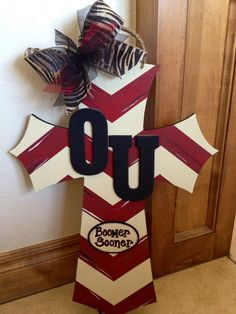 DIY OU Painted Cross Door Hanger