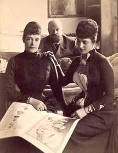 """""""A Family Party at Copenhagen."""" Empress Maria Fyodorovna with her sister Alexandra and her husband Russian Emperor Alexander III, ca.1880's"""
