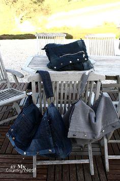 My country nest: Maxi borsa/cartella in jeans grigio