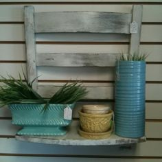 Repurposed chair as a Shabby Chic shelf.
