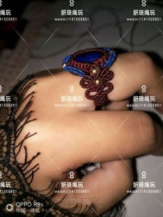 青金石手链戒指 Macrame Jewelry Tutorial, Macrame Rings, Micro Macrame, Flower Prints, Bracelets, Mix Media, Lapis Lazuli, Berry, Knots