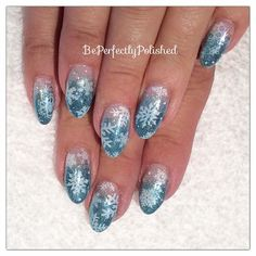 Frozen themed nails with @lovelecente glitter, @moyoulondon and @nailharmonyuk @gelishofficial