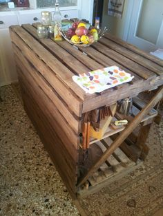 """Original said """"pallet kitchen table"""" I say its more fitting for an island or side table."""